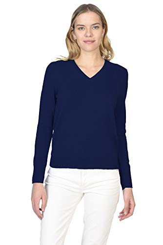 State Cashmere Women's 100% Pure 2-Ply Cashmere Long Sleeve Pullover V-Neck Sweater (Navy, Medium)