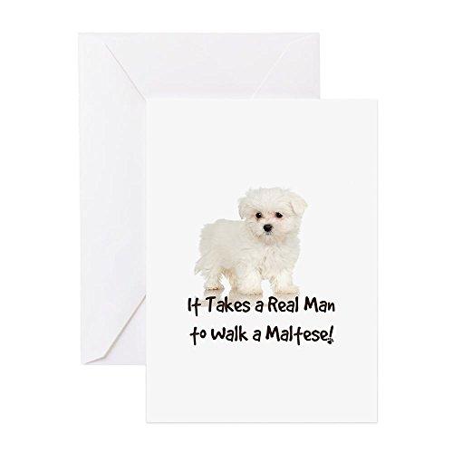 (CafePress - Real Men Walk Maltese - Greeting Card, Note Card, Birthday Card, Blank Inside Matte)