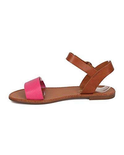 Breckelles Kvinner Leather Ankelen Stropp Sandal - Casual, Hver Dag, Sommer - Åpen Tå Flat Sandal - Gg25 Av Fuchsia
