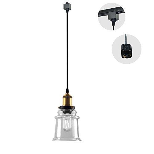 Kiven H-type 3 wire Miniature Pendant Track Lighting Fixture Restaurant Chandelier Decorative Chandelier Instant Pendant Industrial Factory Glass Pendant Lamp,Bulb Not Include,One pcs/ctn