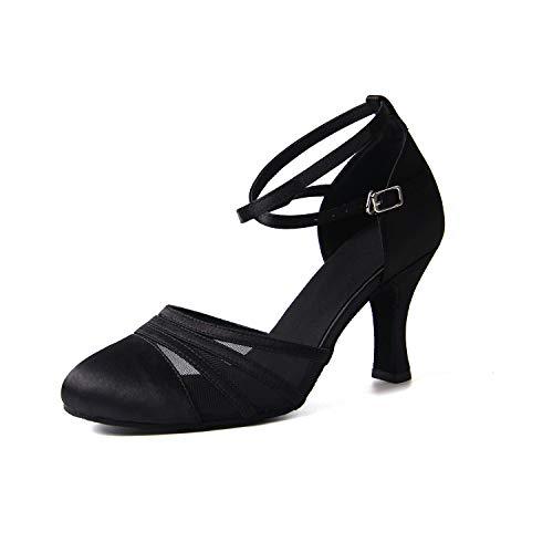 Jywmsc Black De Latín Social Salón 8cm Para Tango Heels Interior La Salsa Bailando Señoras Zapatos Baile Mujeres qH6rq