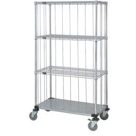- Quantum Storage Systems M2448CG47RE 4-Tier Wire Shelving Mobile Cart with 3-Sided Enclosure Using Rod and Tab, Stem Caster, 3 Wire and 1 Solid Shelf, Chrome Finish, 80