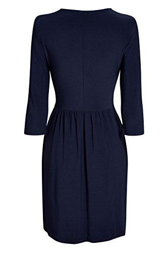next Mujer Vestido Drapeado Alto Azul Marino