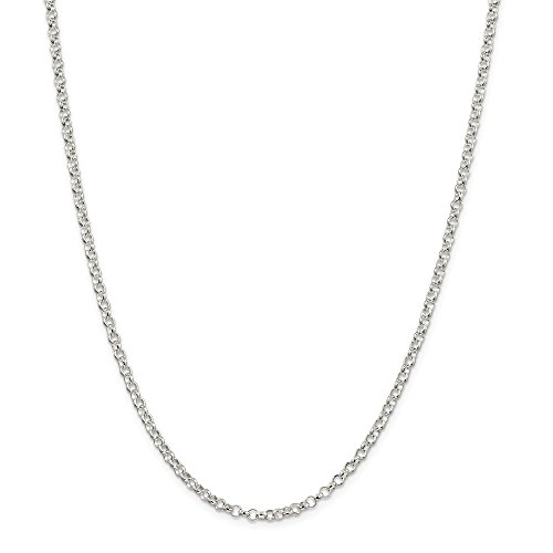 3mm Silver Rolo Chain (Solid 925 Sterling Silver 3.0mm Rolo Chain Necklace 20
