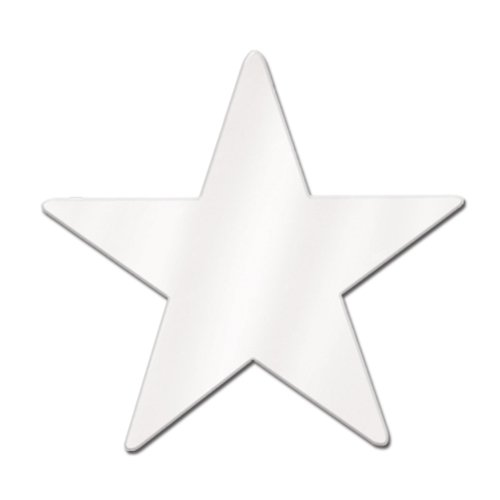 Beistle Home Party Decoration Foil Star Cutout White -12''- Pack Of 24 by Beistle
