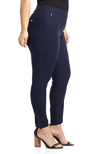 Rekucci Curvy Woman Ease In To Comfort Fit Modern Skinny Plus Size Pant w/Tummy Control (14W,Navy) by Rekucci (Image #1)