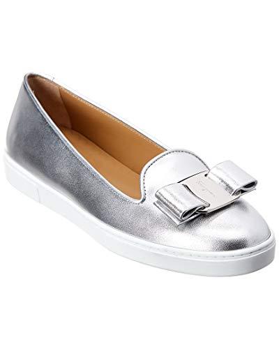 SALVATORE FERRAGAMO Women's Novello Leather Bow Slip-On Sneakers Silver/Argento Nappa Silk 7.5 C US ()