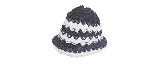 (DINY Home & Style Ladies Winter Chic Slouchy Ribbed Crochet Knit Beret Beanie Hat (Blue & Black))