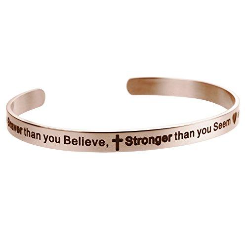 Stainless Gold Faith Bangle - 7
