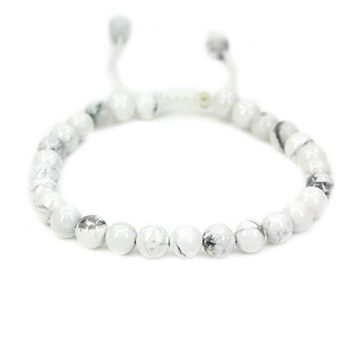Natural White Howlite Gemstone 6mm Round Beads Adjustable Braided Macrame Tassels Chakra Reiki Bracelets 7-9 inch Unisex