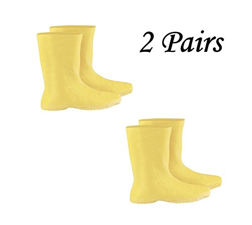 """2 Sets of Yellow 2X Latex Hazmat Overboots - 12"""" - Ribbed and Textured Outsoles"""