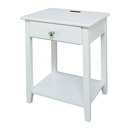 Casual Home 647-21 Owl White Night Stand with USB Port, (Wooden White Nightstand)