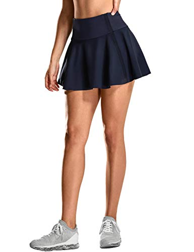 (CRZ YOGA Women's Active Sport Skirted Shorts Pleated Tennis Golf Skirt with Pockets Navy S(4/6))