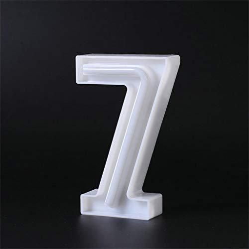 Yu2d  LED USB Letter Lights Light Up White Plastic Letters Standing Hanging 0-9(White H) -