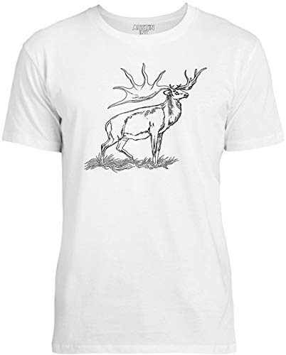 Austin Ink Apparel Majestic Elk Unisex Womens Soft Cotton Tee, Ice White, - Majestic Elk