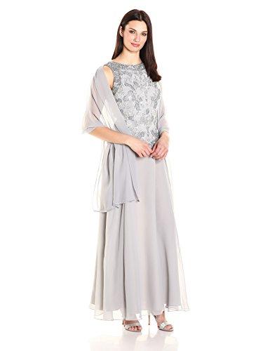 Kara J Multi Trim Silver s with Long Beaded V Detail Scarf Women Dress pTqTwC
