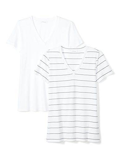 (Daily Ritual Women's Lightweight 100% Supima Cotton Short-Sleeve V-Neck T-Shirt, 2-Pack, L, White/Black-White Wide Stripe)