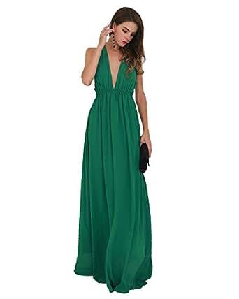 Missord Sexy Deep V Backless Sleeveless Cross Back Maxi Dress X-Small Green