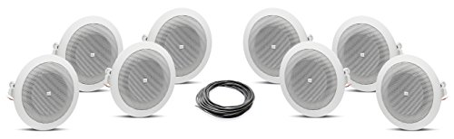 JBL 8124 4 inch 70 Volt In Ceiling Speaker Bundle with West Penn 224 18/2 AWG Speaker Wire - Contractor Pack (8 Speakers, White)
