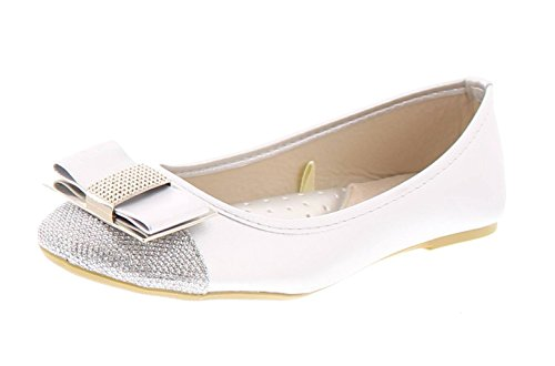 Gold Toe Cap (Gold Toe Women's Ursula Shiny Metallic Studded Bow Slip On Ballet Flat Round Toe Dress Flat Pump Shoes Silver 6 US)
