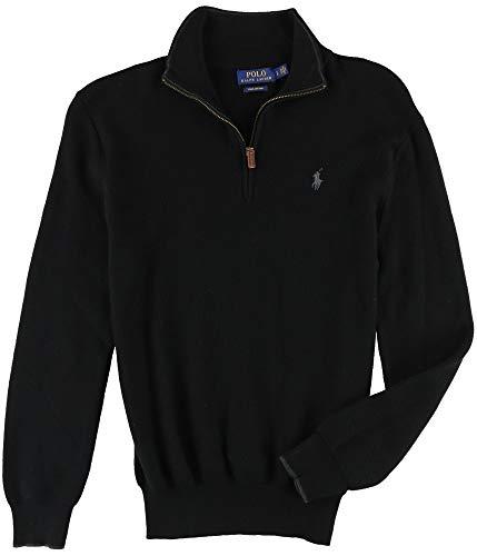 Polo Ralph Lauren Mens Ribbed Trim Zipper Henley Sweater Black S by Polo Ralph Lauren
