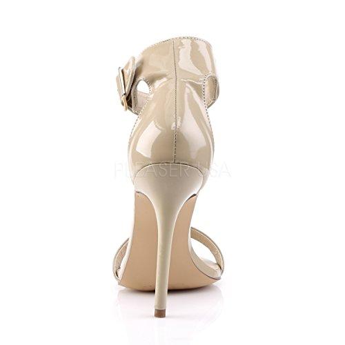 PleaserUSA Damen Ankle Riemchen Sandalen Amuse-10 Lack creme Lack creme