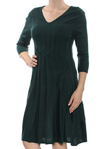 Connected $69 Womens New 1183 Green 3/4 Sleeve V Neck Knee Length Dress M B+B Connected Apparel 3/4 Sleeve