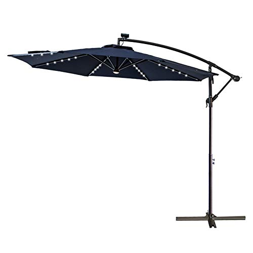 C-Hopetree 10' LED Lighted Outdoor Offset Hanging Cantilever Umbrella with Solar Lights for Large Patio Terrace Deck or Balcony, Navy Blue (Patio Offset 11' Umbrella Rectangular)