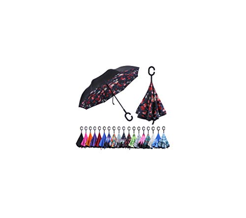 (Mio Marino Reverse Umbrella Windproof, Inverted Umbrellas for Women with UV Protection, Upside Down Rain Umbrella (floral))