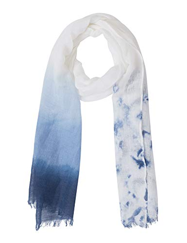 Linen Blend Scarf - Indigo Paisley Women's Tie and Dye Summer Scarf | Cotton Linen Blend Stripe Printed Fabric (White Indigo)
