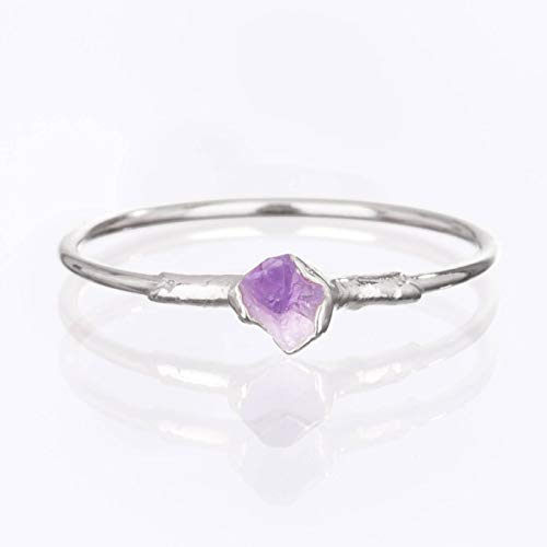 Raw Amethyst Ring, Sterling Silver, Size 6 Mini Stacking Ring, February ()