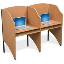Deluxe Floor Carrel - Balt Deluxe Floor Carrel Starter with Keyboard Tray, 32-3/4 x 24-1/2 x 48 Inches, Teak