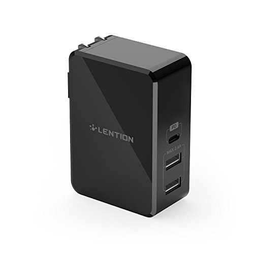 LENTION 45W USB C Wall Charger with Fast Charge PD Adapter for iPhone 11/Pro/Max/XS/XR/X/8/Plus, New MacBook Air/Pro, iPad Pro 2018 2019, Nintendo Switch, Samsung S10/S9/S8/Note 9/8, More (Black)