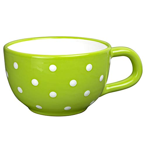 Handmade Ceramic Designer Lime Green and White Polka Dot Cup, Unique Extra Large 17.5oz/500ml Pottery Cappuccino, Coffee, Tea, Soup Mug | Housewarming Gift for Tea Lovers by City to Cottage