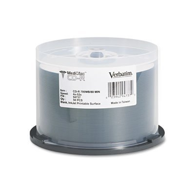 Medical Grade CD-R Discs, 700MB/80min, 52x, Spindle, White, 50/Pack, Sold as 1 Package, 50 Each per Package by Verbatim