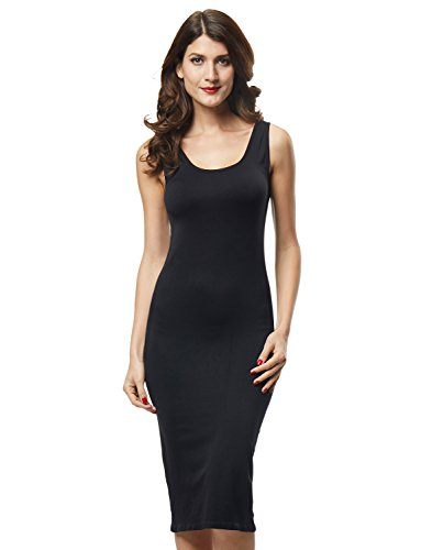 Franato Women's Seamless Stretchy Basic Tank Bodycon Maxi Long Dress Black - Slip Nylon Camisole