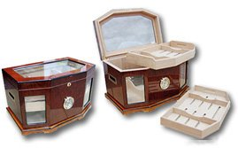 Prestige Import Group - The Chancellor Beveled Glass Top Cigar Humidor - Color: Mahogany by Prestige Import Group