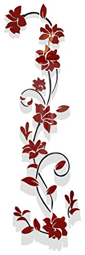 3d Rattan Flower Wall Murals for Living Room Bedroom Sofa Backdrop Tv Wall Background, Originality Stickers Gift, Removable Wall Decor Decal Sticker (70(H) x 22(W) inches)