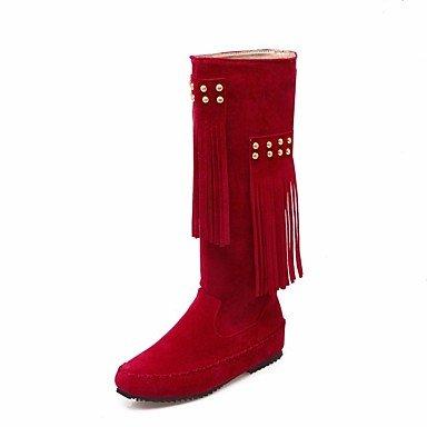 la roja de plana PU Ruby mujer negra Casual Botas Primavera confort f5q6fw