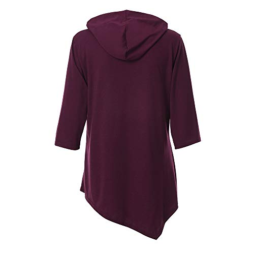 Col V XL Manches Tops Patchwork Chemise Rose Tunique Mousseline Rouge Shirt Blouse Blouse Lache T Femme Longue 6qItpw