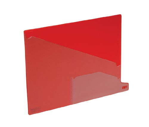 Pendaflex 13561 End Tab Vinyl Outguides, Bottom Tab Printed Out, 2 Pockets, Letter, Red, (Out Guides Two Diagonal Cut)