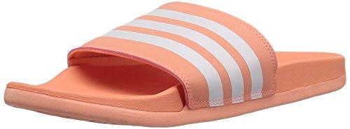 adidas Women's Adilette Cloudfoam+ Slide Sandal, White/Chalk Coral, 8 M US