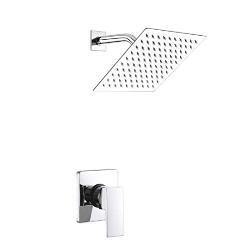 (POP Single Function Shower Trim Kit with Rough-in Valve, Bathroom Rain Shower Set Bath Rainfall Shower Faucet System with Square Stainless Steel Metal Showerhead, Polished Chrome)