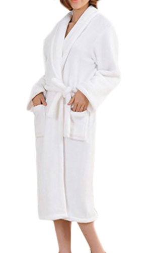Women One Size Fashion Sexy Spandex Satin Lace Bath Robe White- - 4