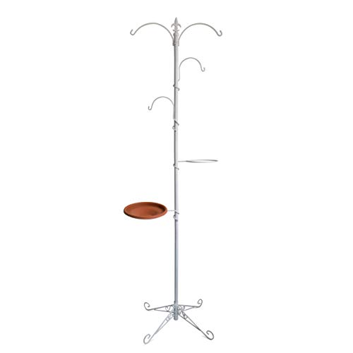 "Gray Bunny GB-6888W Premium Yard Tree Metal Stand- Bird Feeding Station Kit/Hanging Garden System, 79""(200 cm) Tall, White, Wind Chime/Lantern Hanger/Planter Stand/Bird Bath/Wild Bird ()"