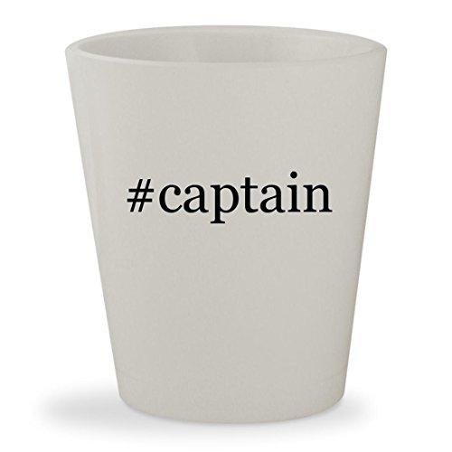 #captain - White Hashtag Ceramic 1.5oz Shot Glass (Shot Glass Captain America)