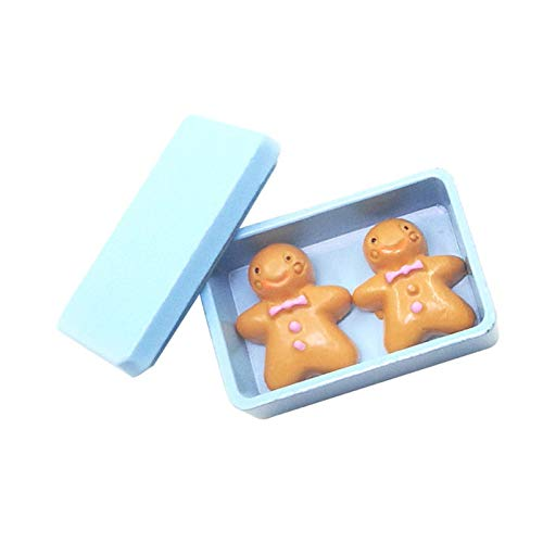 (1:12 Dollhouse Miniatures Accessories Blue Biscuit Box with Cookies)