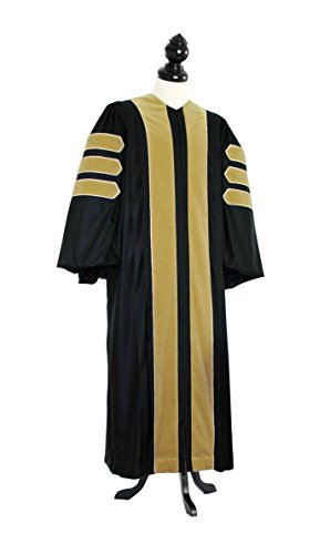 TIMELESS Men Deluxe Doctoral of Science Academic Gown for faculty and Ph.D. gold silk Custom Size Black by TIMELESS - bespoken