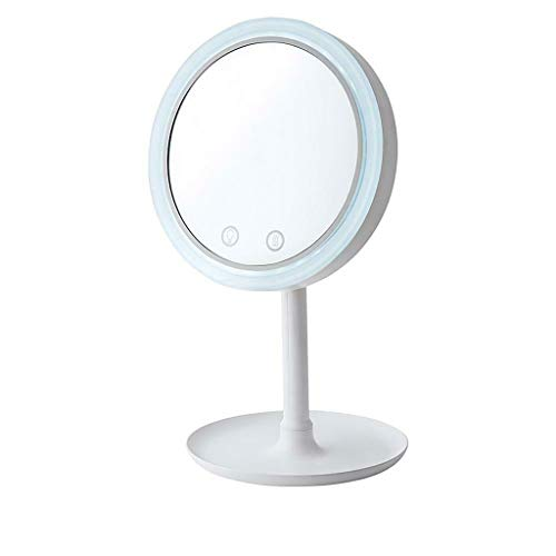 (JonerytimeMakeupMirror with Fan Makeup Mirror Three-in-one Lighted Mirror with Fan 5X Mag White)