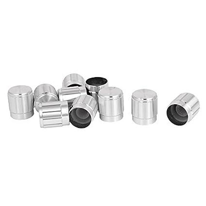 eDealMax aleación de aluminio Perillas de potenciómetro del casquillo 10pcs 15x16mm tono Plata